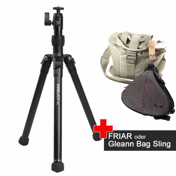 Foto-Stativ mit Selfie-Stick-Funktion P56 im Spar-Set mit der Foto-Tasche Friar oder Gleann Bag Sling
