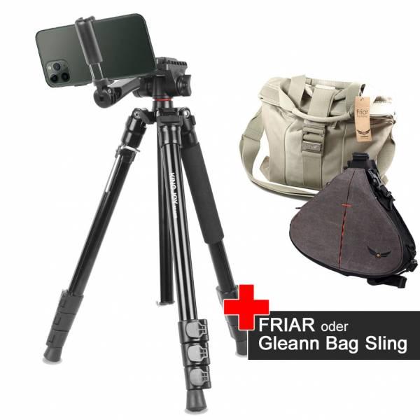 Video-Foto-Stativ BT-158 mit Foto-Tasche Friar oder Gleann Bag im Spar-Set
